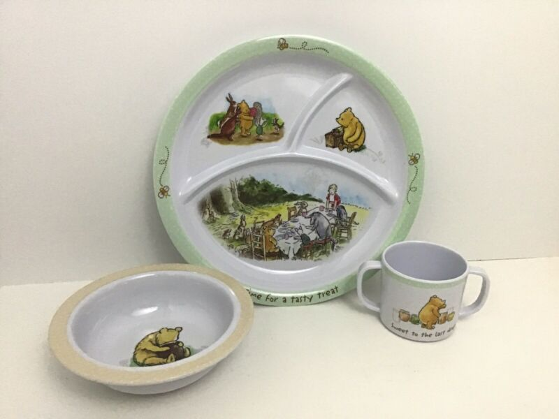 Disney Baby Winnie The Pooh Dish Set Plate Bowl Cup Kids Preferred