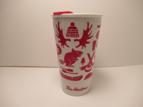 "NEW 2018 TIM HORTONS WHITE & RED  CANADA ""EH""  TRAVEL COFFEE MUG 6"" TALL"