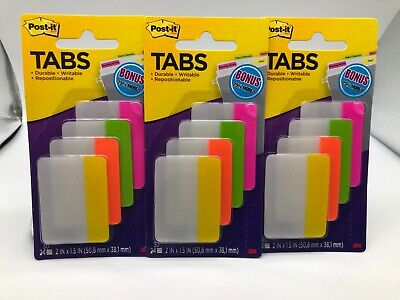 Lot Of 3 Post-it Tabs 2 X 1.5 Durable Writable Repositionable 30pc