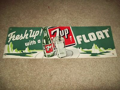 """Vintage 1950""""s  Fresh up With  7 UP Litho Fountain Banner """" NICE """""""
