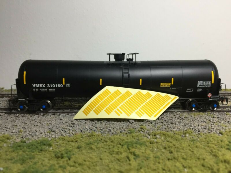 HO 1/87th REFLECTIVE Scale Safety Striping for Boxcar, Tank car, Covered Hopper