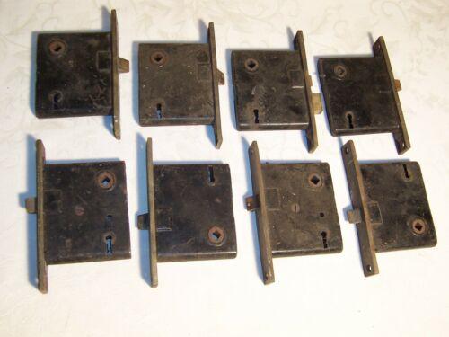 Set (8) Salvaged  Antique Brass & Cast Iron Mortise Door Locks