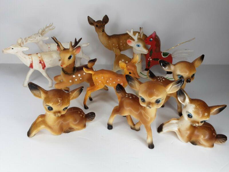10 Vintage Reindeer Deer Fawn Figurines Hong Kong