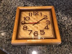 Vintage Mid Century Modern Harris & Mallow Verichron Bamboo Wood Wall Clock USA