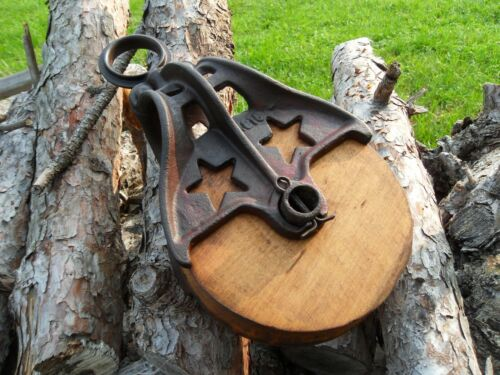 Antique Vintage Cast Iron And Wood ORNATE Barn Pulley Tool Rustic Primitive