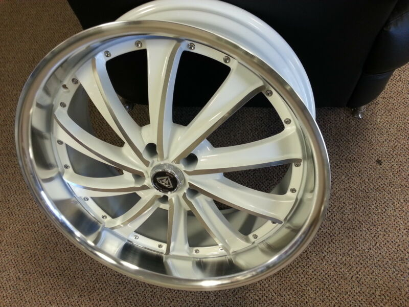 20X8.5 4 new Wheels Rims White Diamond Edition # 0016 White&Machine NICE