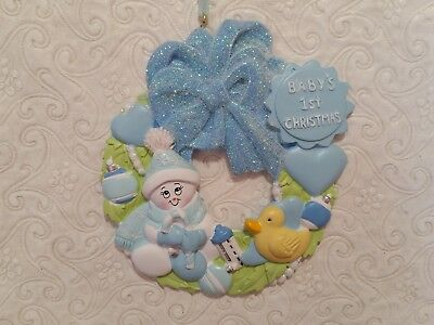 DIY Personalize FAMILY Christmas Tree Ornament GRANDKIDS Wreath BOY Baby's First](Diy Christmas Wreath)