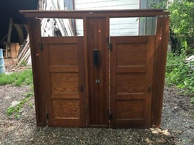 Antique Oak 1920's School Industrial Vtg Bathroom Double Stall Doors 192-18E