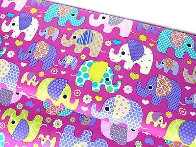 Baumwolle Stoff Tiere Kinderstoff Elefant Elefanten violett lila Meterware 10311 ()