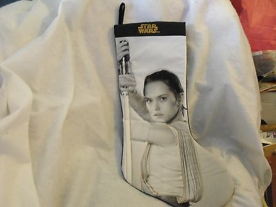 Star Wars Christmas Stocking, Rey, Black & Grey, Quilted Stitching, New No Tags