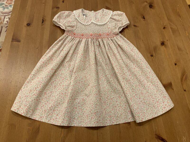 Bonnie Jean Girls 4T Smocked Multicolor Floral Dress Vintage Style