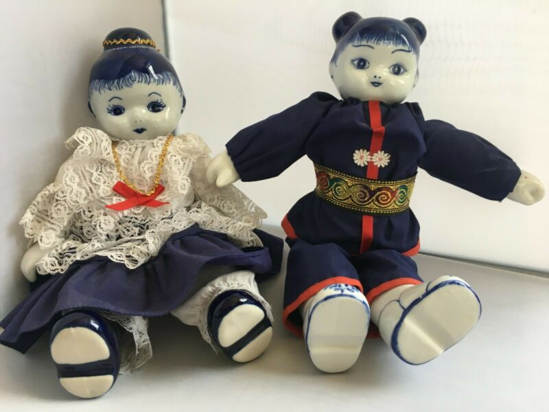 2 Vintage Chinese Dolls Fabric w/ Blue & White Porcelain Head, Hands and Feet