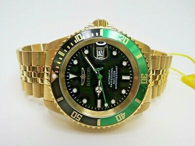 Invicta Men's Automatic Watch Pro Diver 42mm Gold Green Black 29184