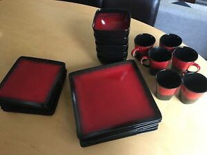 Red and black ceramic dining set