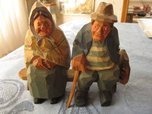 Vintage Wood Folk Art carving of seated elderly couple on bench, Trygg?