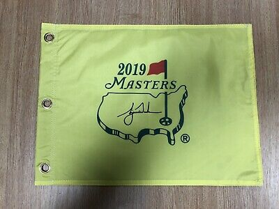 "TIGER WOODS SIGNED MASTERS 2019 GOLF PIN FLAG ""IF ANY ONE CAN"" Autosigned ()"