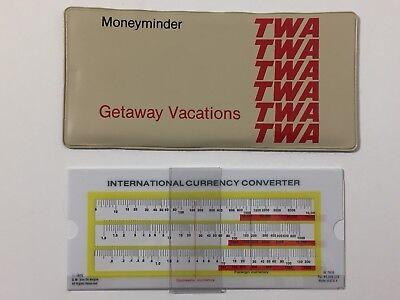 Vintage 1970S Twa Airlines Getaway Vacations Moneyminder Currency Converter 70S
