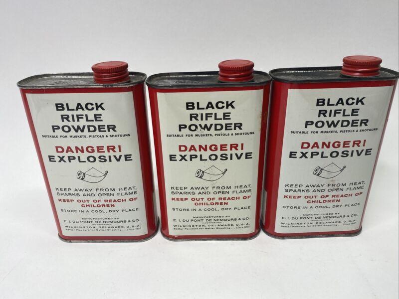 Vintage GOEX FFFg SUPERFINE BLACK RIFLE POWDER Gunpowder Can Tin EMPTY  LOT of 3