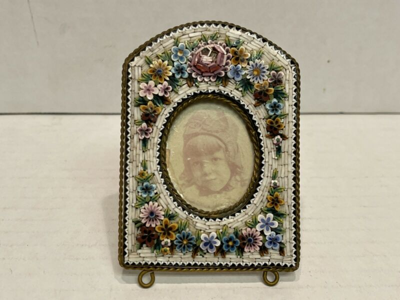 Antique Italian Micro Mosaic Floral Decorated Bronze Picture Frame, #783