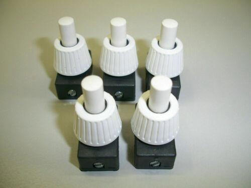 Druck-Einbau-Schalter  (H4.) 5 Stück 230 V, 2 A weiß ,12 mm Halslänge