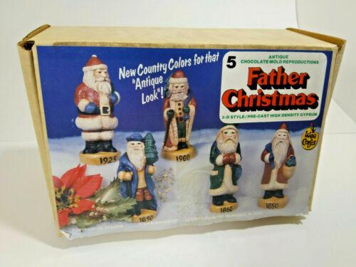Vintage Father Christmas Paint Kit, 5 Santas, Wee Grafts 1980s