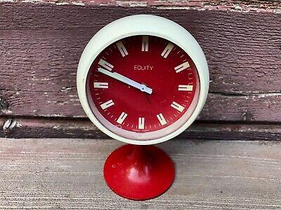 VTG MCM Equity Red & White Pedestal Alarm Clock Space Age ReTro