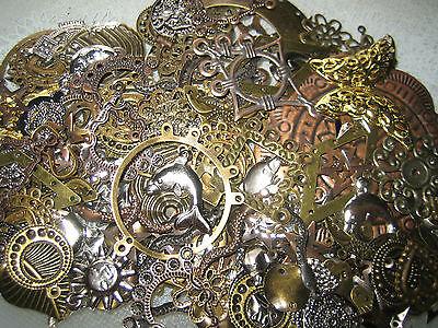 Bastelset Metallteile-Verbinder-Ohrhänger-Anhänger-Charms-bronze-gold-silber 50g