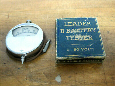 Vintage Leader Usa Pocket Voltmeter B Battery Tester 0-50 Volts Woriginal Box