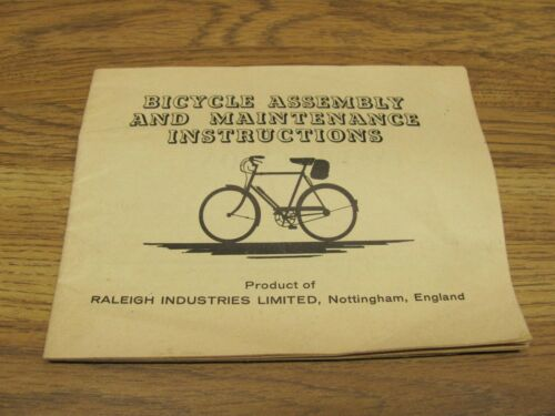 Vintage RALEIGH Bicycle Assembly And Maintenance Instructions England
