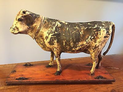 "Antique 13"" Leather Paper Mache Mechanical Cow Bull Early Pull Toy"