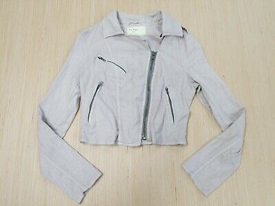 ♡072 FREE PEOPLE Linen Moto Jacket WOMENS Sz 4 Cropped Biker Zippers
