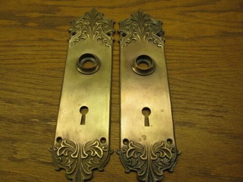 PAIR OLD BRONZE DOOR PLATES...BACKPLATES...RUSSELL& ERWIN CO. ??