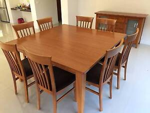 Square Dining Table (8 Seater) & Matching Buffet + 8 Chairs Ormond Glen Eira Area Preview