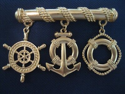 Vintage Nautical Theme Bar Brooch Charms Roping Anchor Life Ring Captain Wheel  - Halo Marine Costume