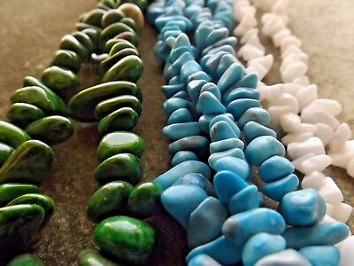 Howlite Chip Beads - HOWLITE SMALL/LARGE CHIP GEMSTONE BEADS 16/36 INCH STRANDS GREEN WHITE TURQUOISE