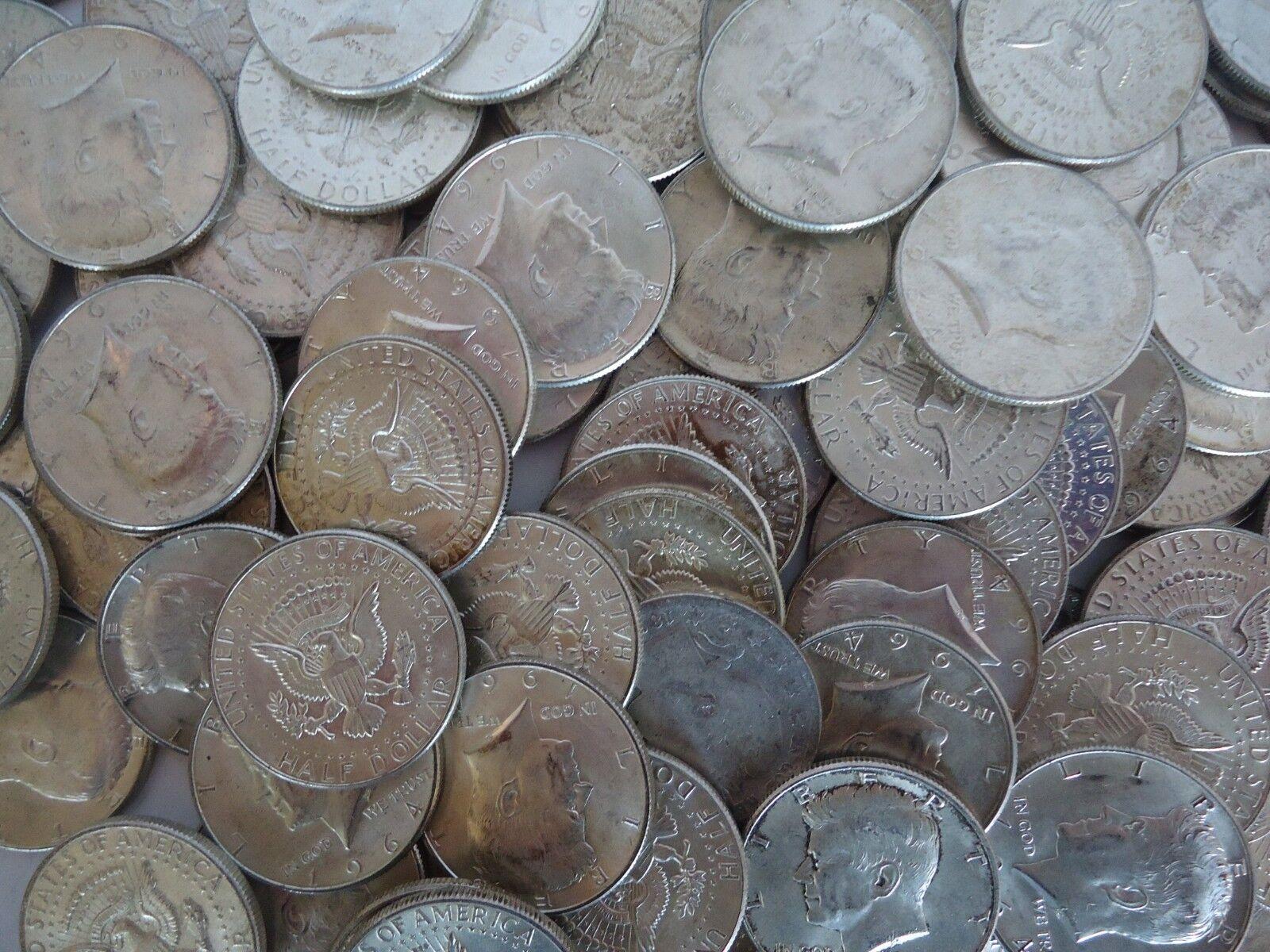 1964 Kennedy Half Dollars, Roll of 20, 90% Silver, Circulated