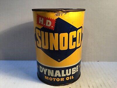 Vintage Sunoco Oil Quart Can Metal gas rare tin sign handy Texaco Mobil Sinclair