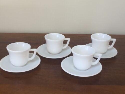 Vintage Milk Glass Demitasse Cup & Saucer Child Tea Party ~ Set of 4 (Lot 1)