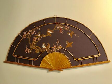 Huge vintage boho bamboo cane handpainted birds fabric fan wall art