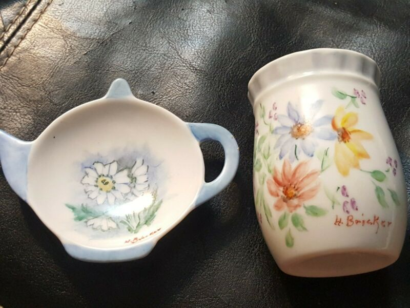 Lot Porcelain TEA BAG HOLDER REST Flower Floral Teapot & Vase Signed H. BRICKER