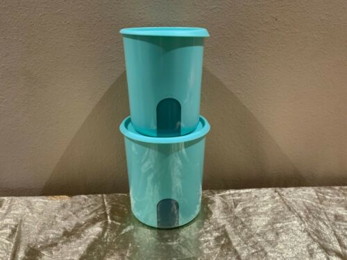 Tupperware Set of 2 Beautiful New One Touch Canisters w Window View MINT Color