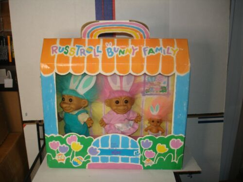 """Vintage Russ Troll Bunny Family 3 piece Doll Set New in Original Box 6""""  Easter"""