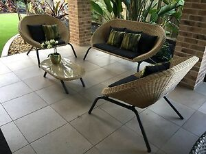 BRAND NEW Outdoor Lounge Setting Dark Grey Glass & Wicker 4 Piece Set Coffs Harbour Coffs Harbour City Preview