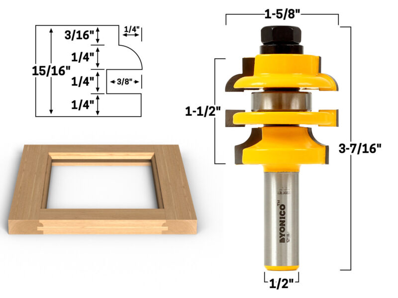 """Roundover Stacked Rail and Stile Router Bit - 1/2"""" Shank - Yonico 12118"""