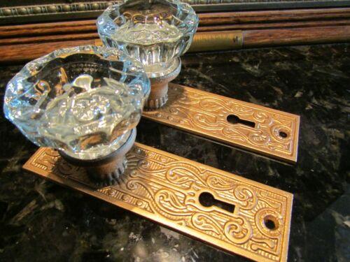 VINTAGE DOOR HARDWARE: ART NOUVEAU CAST IRON BACK PLATES & 12 PT. CRYSTAL KNOBS