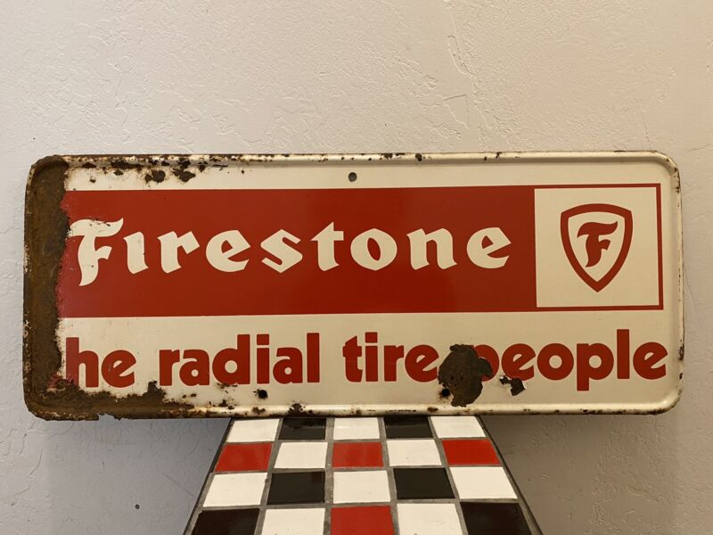 """Firestone The Radial Tire People  Sign 25""""x9.75"""""""