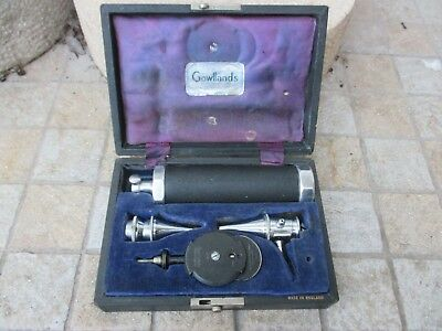 Vintage Gowllands May Opthalmoscope Otoscope Diagnostic Set Medical Instruments