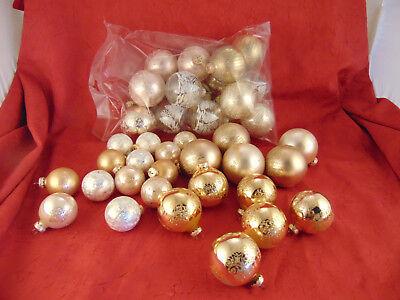 35 Silver Gold Cream Christmas tree ornament balls clear glitter holiday decor