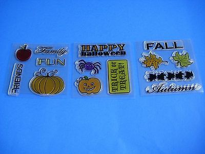 Clear Stamps FALL AUTUMN HALLOWEEN FRIENDS FAMILY FUN 3 Sets Slightly Used - Family Fun Halloween Crafts