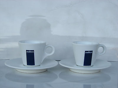 2pc Lavazza cups and saucers coffee small espresso used rare plate Italy